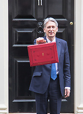 2017-03-08 Chancellor Philip Hammond leaves 11 Downing Street to present budget