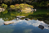 Ritsurin Pond Garden - a landscape garden in Takamatsu was built by  feudal lords during the Edo Period.  Ritsurin is considered to be one of the finest gardens in Japan, and features many pavilions, ponds, bridges and hills set beside wooded Mt. Shiun which serves as a background and serves as an example of borrowed scenery and Japanese gardening design.