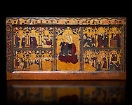 Gothic painted Panel Altar frontal of Jesus' childhood by anonymous artist from Navarra. Tempera and gold leaf on wood. Second quarter of 14th century. 90.8 x 171.2 x 5.8 cm. From the parish church of Arteta (Navarra).. National Museum of Catalan Art, inv no: 004368-000 .<br /> <br /> If you prefer you can also buy from our ALAMY PHOTO LIBRARY  Collection visit : https://www.alamy.com/portfolio/paul-williams-funkystock/gothic-art-antiquities.html  Type -     MANAC    - into the LOWER SEARCH WITHIN GALLERY box. Refine search by adding background colour, place, museum etc<br /> <br /> Visit our MEDIEVAL GOTHIC ART PHOTO COLLECTIONS for more   photos  to download or buy as prints https://funkystock.photoshelter.com/gallery-collection/Medieval-Gothic-Art-Antiquities-Historic-Sites-Pictures-Images-of/C0000gZ8POl_DCqE