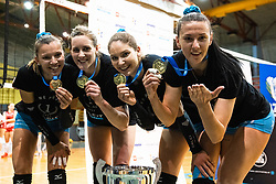 Olivera Kostic of Calcit Volley, Lucille June Charuk of Calcit Volley, Katja Mihevc of Calcit Volley and Andjelka Radiskovic of Calcit Volley with medals after 3rd Leg Volleyball match between Calcit Volley and Nova KBM Maribor in Final of 1. DOL League 2020/21, on April 17, 2021 in Sportna dvorana, Kamnik, Slovenia. Photo by Matic Klansek Velej / Sportida