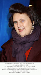 SUZY MENKES of Vogue, at a party in London on 16th February 2003.PHH 30