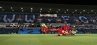 The Thames Valley Air Ambulance helicopter lands  on the pitch at Adams Park, home of Wycombe Wanderers<br /> <br /> Photographer Lee Parker/CameraSport<br /> <br /> The EFL Sky Bet League One - Wycombe Wanderers v Blackpool - Tuesday 28th January 2020 - Adams Park - Wycombe<br /> <br /> World Copyright © 2020 CameraSport. All rights reserved. 43 Linden Ave. Countesthorpe. Leicester. England. LE8 5PG - Tel: +44 (0) 116 277 4147 - admin@camerasport.com - www.camerasport.com