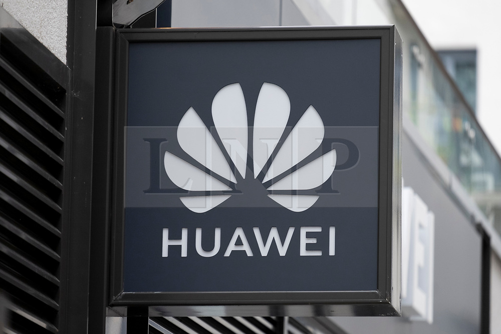 © Licensed to London News Pictures. 14/07/2020. London, UK. A Huawei mobile phone store and service centre sign  in North West London. The British government is expected today to announce a decision on the future involvement  on the future 5G network and Huawei telecoms firm. Photo credit: London News Pictures