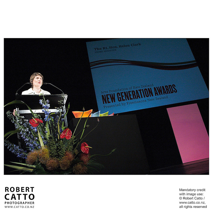 Helen Clark at the Arts Foundation of New Zealand New Generation Awards at the St James Theatre, Wellington, New Zealand.<br />