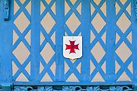 France, Morbihan (56), étape sur le chemin de Saint Jacques de Compostelle, village médiéval de Josselin, maisons à colombage de la rue des Vierges, anciennes demeures de marchands datant du XVIe siècle // France, Morbihan (56), step on the way of Saint Jacques de Compostela, medieval village of Josselin, half-timbered houses
