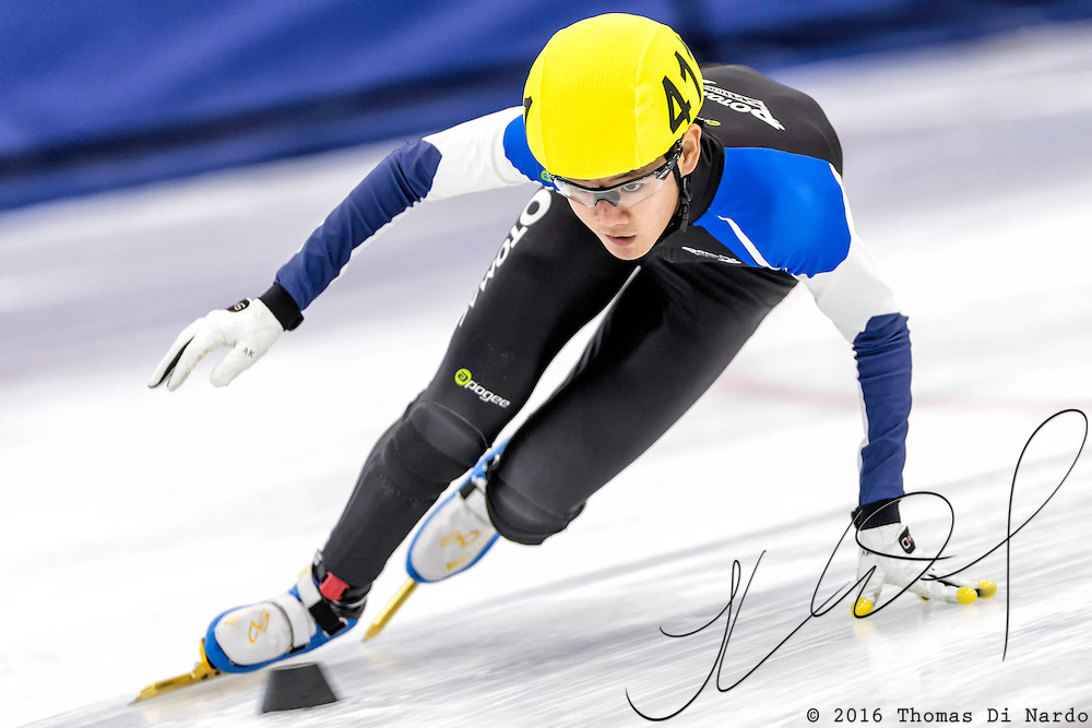 December 17, 2016 - Kearns, UT - Andrew Kim skates during US Speedskating Short Track Junior Nationals and Winter Challenge Short Track Speed Skating competition at the Utah Olympic Oval.