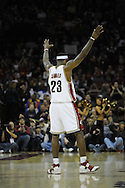LeBron James raises his arms in the air to pump up the fans...The Miami Heat lost to the host Cleveland Cavaliers 84-76 at Quicken Loans Arena, April 13, 2008..