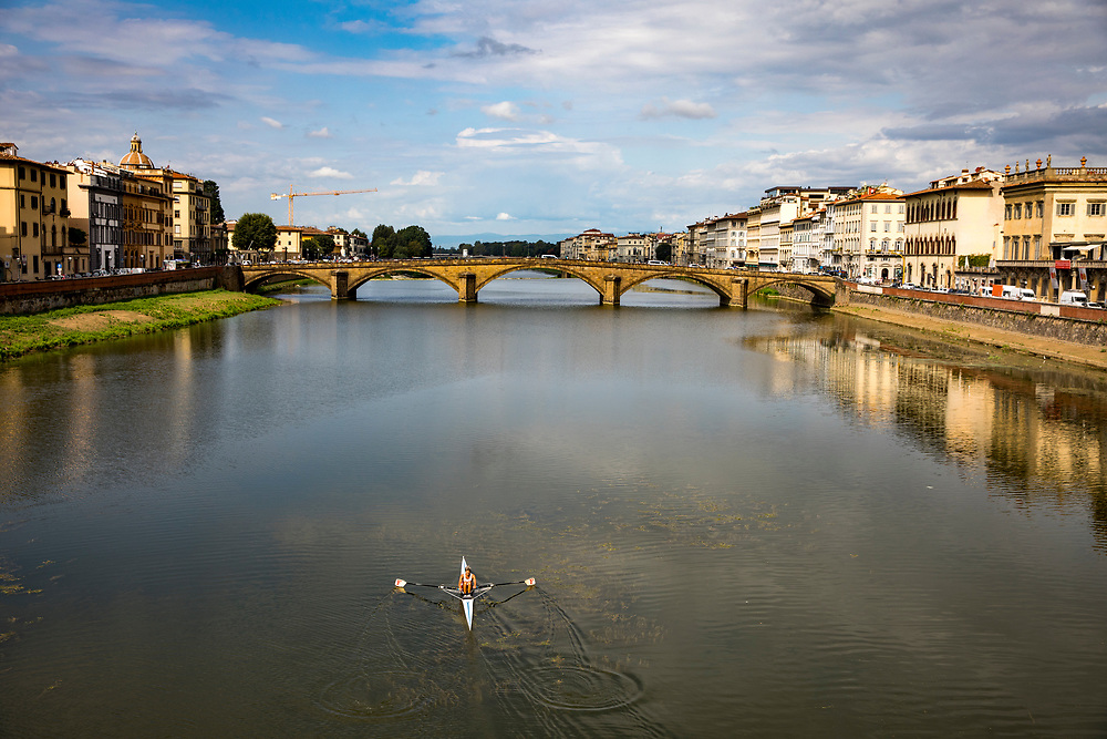 The River Arno serves as a central point for tourists, brides, kayakers and anyone interested in a beautiful view of Florence, Italy.