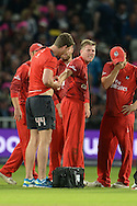James Faulkner receives treatmeant for a dislocated finger  during the NatWest T20 Blast final match between Northants Steelbacks and Lancashire Lightning at Edgbaston, Birmingham, United Kingdom on 29 August 2015. Photo by David Vokes.