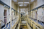 Prisoner officers on the landings of Drake wing, HMP/YOI Portland, a resettlement prison with a capacity for 530 prisoners.
