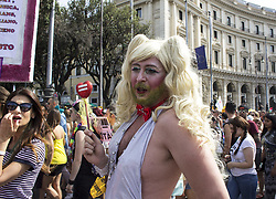 June 10, 2017 - Rome, Italy - Gay pride invaded the streets of Rome. 20,000 people have parade to reiterate the equality of love and the need for a law that protects everyone: gay, lesbian, and trans. So many voices against politicians and the Vatican who for decades have hindered the adoption of laws in favor of marriage and gay adoption. (Credit Image: © Elisa Bianchini/Pacific Press via ZUMA Wire)