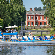 Spectator boat <br /> <br /> Racing at the Henley Royal Regatta on The Thames river, Henley on Thames, England. Friday 5 July 2019. © Copyright photo Steve McArthur / www.photosport.nz