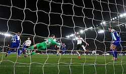 Derby County's Scott Malone scores his side's second goal of the game during the Sky Bet Championship match at Pride Park, Derby.
