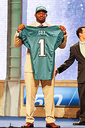 The Philadelphia Eagles first round Draft pick Fletcher Cox poses for a picture during the first round of the NFL Draft on April 26th 2012 at Radio City Music Hall in New York, New York. (AP Photo/Brian Garfinkel)