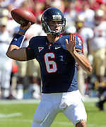 Oct 2, 2010; Charlottesville, VA, USA; Virginia Cavaliers quarterback Marc Verica (6) throws the ball during the first half of the game against Florida State Seminoles at Scott Stadium.  Photo/The Daily Progress/Andrew Shurtleff