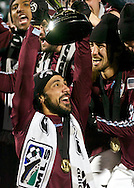 Colorado Rapids Captian Pablo Mastroeni lifts the 2010 MLS Cup after his team defeated FC Dallas 2-1 in BMO Field in Toronto.