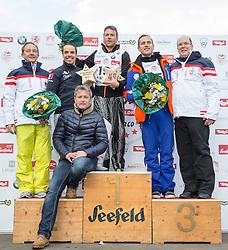 22.03.2014, Sportalm, Seefeld, AUT, 8. World Star Ski Event, Star Team for Children, Preisverleihung, im Bild Podium Biathlon Herren v.l. Mauro Serra (Star Team President), Peter Fill (Vize Weltmeister Super-G, 2. Platz), Frederic Covili (Weltmeister Ski Alpin, 1. Platz), Jure Kosir (Olympiasieger Ski Alpin, 3. Platz), Prinz Albert II von Monaco // during the award ceremony of Star Team for Children of 8th World Star Ski Event at the Sportalm in Seefeld, Austria on 2014/03/22. EXPA Pictures © 2014, PhotoCredit: EXPA/ Johann Groder