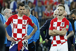 (L-R) Mario Mandzukic of Croatia, Ivan Rakitic of Croatia during the 2018 FIFA World Cup Russia Final match between France and Croatia at the Luzhniki Stadium on July 15, 2018 in Moscow, Russia