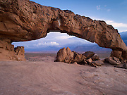 """View of Sunset Arch, in the Grand Staircase-Escalante National Monument, south of Escalante, UT; sunset; Lat =  37°22'31.94""""N; Long = 111° 2'50.23""""W"""