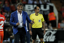September 19, 2017 - Valencia, Spain - Head coach of Malaga CF Jose Miguel Gonzalez Martin del Campo, Michel, of Malaga CF   during spanish La Liga match between Valencia CF vs Malaga CF at Mestalla  Stadium on  September 19, 2017. (Credit Image: © Jose Miguel Fernandez/NurPhoto via ZUMA Press)