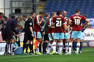 Burnley players take a water break. Skybet football league championship match, Burnley  v Birmingham City at Turf Moor in Burnley, Lancs on Saturday 15th August 2015.<br /> pic by Chris Stading, Andrew Orchard sports photography.