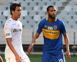 Amr Gamal and Ebrahim Seedat in the MTN8 semi-final first leg match between Cape Town City and Bidvest Wits at the Cape Town Stadium on Sunday 27 August 2017.