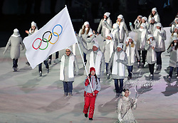 Olympic Athlete from Russia during the Opening Ceremony of the PyeongChang 2018 Winter Olympic Games at the PyeongChang Olympic Stadium in South Korea.