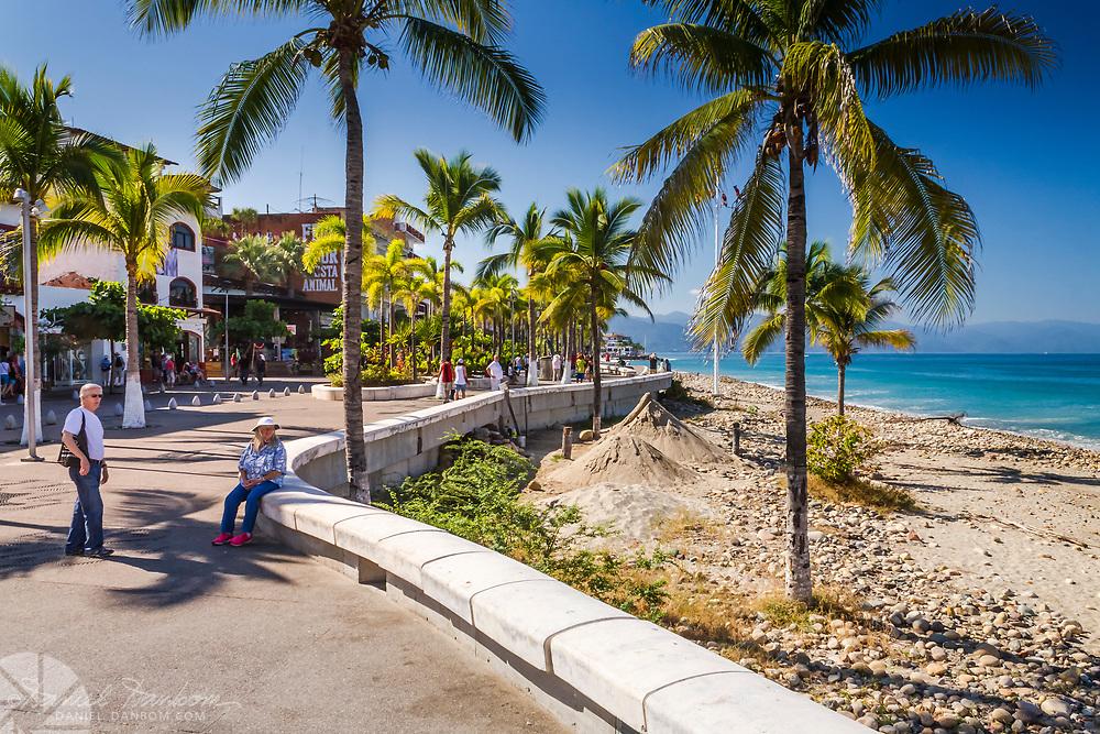 Paseo Daiz Ordaz, Puerto Vallarta, Mexico, shoreline esplande.