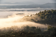 Morning landscape view in Tuscany during fall.