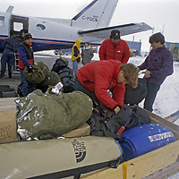 BAFFIN ISLAND. Expedition members in Clyde River, enroute to big wall climbing expedition.