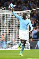 Yaya Toure of Manchester City celebrates after scoring the winning penalty in penalty shoot out. Capital One Cup Final, Liverpool v Manchester City at Wembley stadium in London, England on Sunday 28th Feb 2016. pic by Chris Stading, Andrew Orchard sports photography.