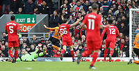 Football - 2016 / 2017 FA Cup - Fourth Round: Liverpool vs. Wolverhampton Wanderers<br /> <br /> Andreas Weimann of Wolverhampton Wanderers scores during the match at Anfield.<br /> <br /> COLORSPORT/LYNNE CAMERON