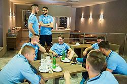 Bostjan Cesar, Miha Mevlja at Slovenia team gathering before friendly football match against National teams of Sweden and Turkey, on May 23, 2016 in Hotel Kokra, Brdo pri Kranju, Slovenia. Photo by Vid Ponikvar / Sportida