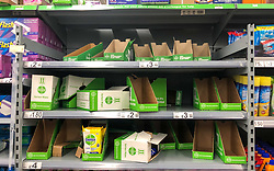 © Licensed to London News Pictures. 03/03/2020. London, UK. Disinfectant wipes running low. Panic-buying starts to show in this ASDA store in Wandsworth as shelves empty out of goods. Earlier, Boris Johnson announced his battle plan in Downing Street for combating the coronavirus crisis. Photo credit: Alex Lentati/LNP