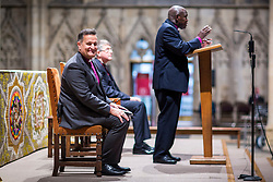 © Licensed to London News Pictures. 26/11/2018. York UK. The Rt Revd Dr Jonathan Frost (seated looking to camera) who is the new Dean of York. Downing Street has announced today that her Majesty The Queen has accepted the nomination of the Rt Revd Dr Jonathan Frost, the Suffragan Bishop of Southhampton as the next Dean of York. Photo credit: Andrew McCaren/LNP