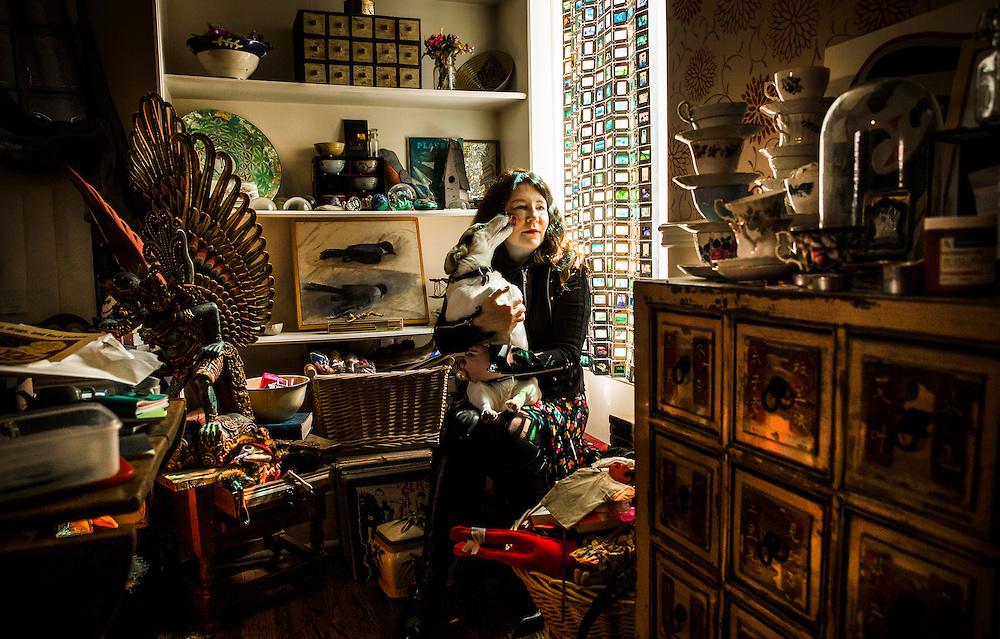 Toronto, Ontario - April 29, 2015 -- Lynn Crosbie author --  Author Lynn Crosbie holds her Dog Frank as she poses for a picture in her home in Toronto, Wednesday April 29, 2015   (Mark Blinch for the Globe and Mail)