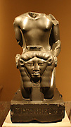 Kneeling statue of Amenemope-em-hat.  Dynasty 26, reign of Psamtik 1 (664-610 BC) From Memphis, Ptah Temple.