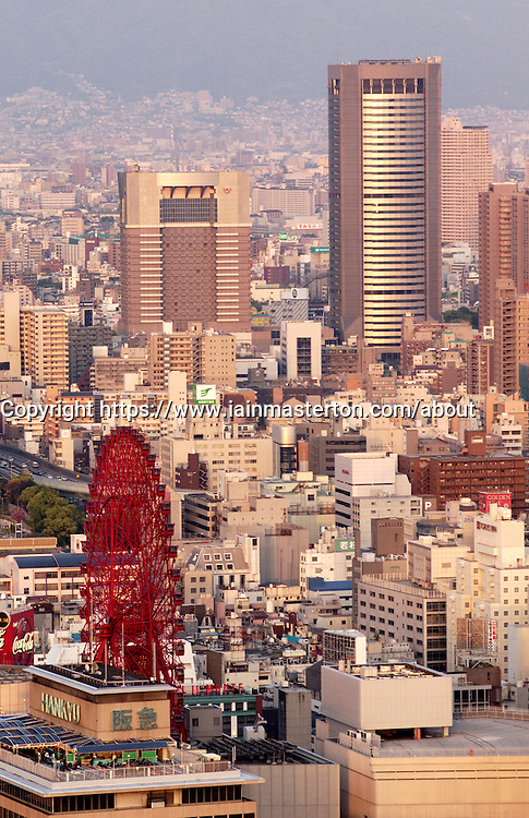 View over central Osaka in Japan