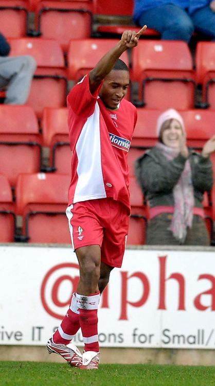 Photo: Alan Crowhurst.<br />Swindon Town v Macclesfield Town. Coca Cola League 2. 27/01/2007. Swindon's Ricky Shakes celebrates his goal 1-0.