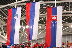Slovenian, Russian and Slovakian  flags for women triple jump at the 3rd day of  European Athletics Indoor Championships Torino 2009 (6th - 8th March), at Oval Lingotto Stadium,  Torino, Italy, on March 8, 2009. (Photo by Vid Ponikvar / Sportida)