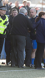Montrose manager Paul Hegarty with Brora Rangers manager Kirkwood (back) at the end. <br /> Montrose 3 v 1 Brora Rangers, Scottish League Two play-off second leg, today at Links Park, Montrose.