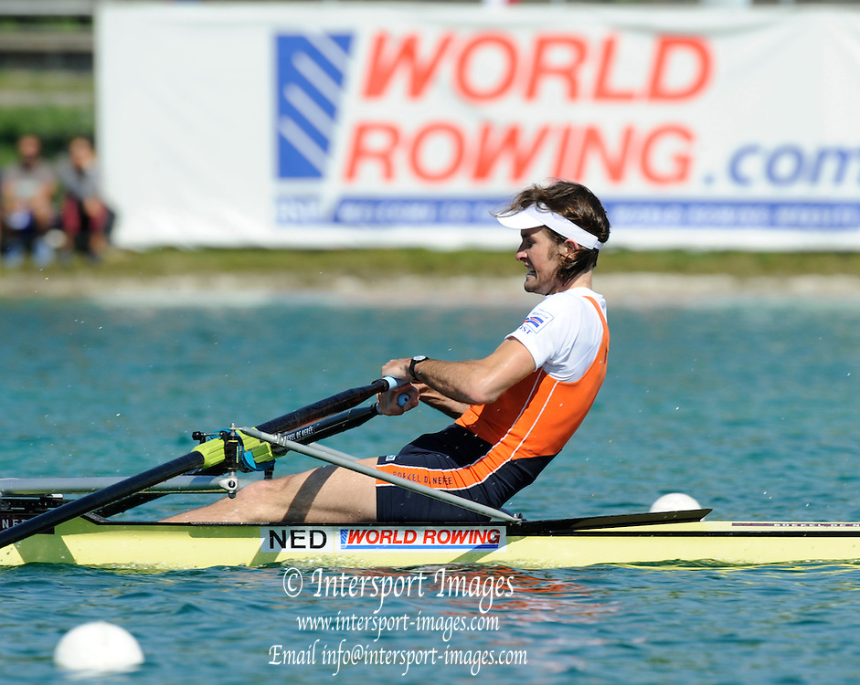 Munich, GERMANY, A Final NED  LM1X , Jaap SCHOUTEN, on Sunday Finals Day, at the FISA World Cup Munich, held on the Olympic Rowing Course, 11/05/2008    [Mandatory Credit Peter Spurrier/ Intersport Images] Rowing Course, Olympic Regatta Rowing Course, Munich, GERMANY