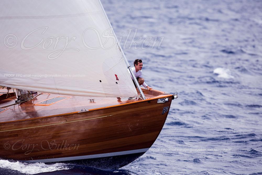 Spirit of Rani sailing in the Antigua Classic Yacht Regatta, Old Road Race.