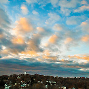 Aerial landscape with Sunset Clouds  Hastings-on-Hudson NY