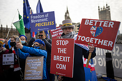 © Licensed to London News Pictures. 09/12/2020. London, UK. Anti-Brexit protester Steve Bray demonstrates outside Parliament.  The Prime Minister will travel to Brussels for a face-to-face meeting with President of the European Commission Ursula con der Leyen in a final attempt to find agreement on a possible Brexit deal. Photo credit: Rob Pinney/LNP
