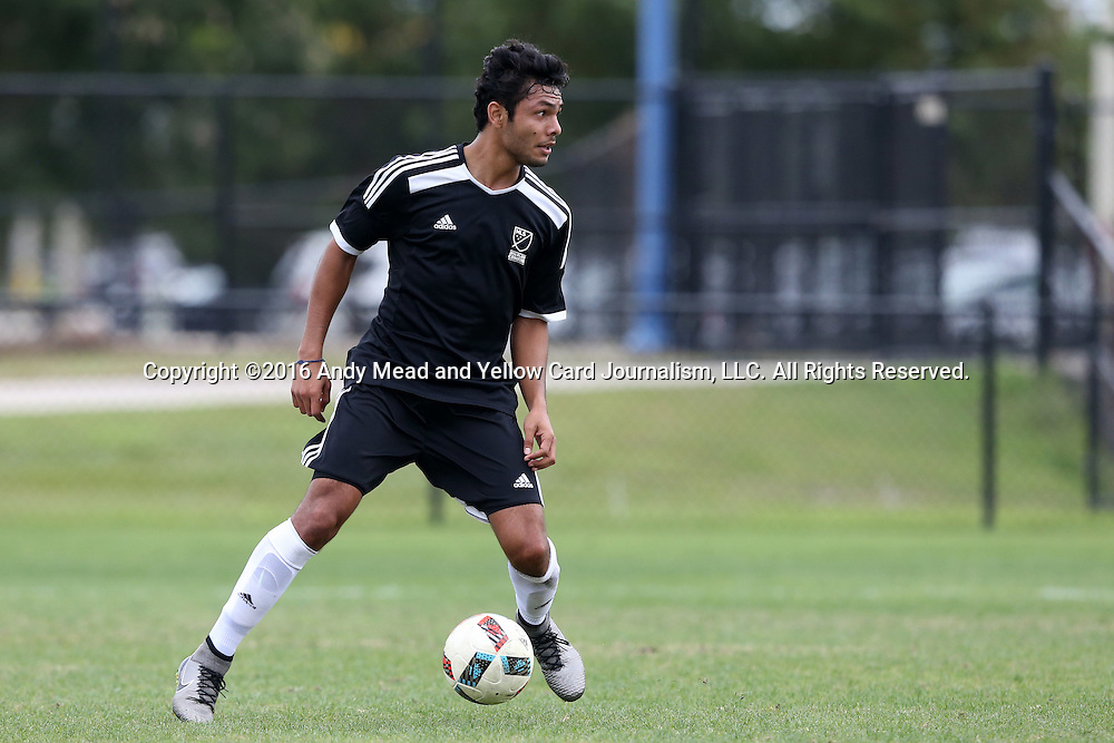 10 January 2016: Dennis Castillo (CRC) (Virginia Commonwealth). The adidas 2016 MLS Player Combine was held on the cricket oval at Central Broward Regional Park in Lauderhill, Florida.