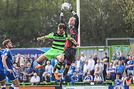 Forest Green Rovers Christian Doidge(9) challenges Chesterfield goalkeeper Aaron Ramsdale(1) for the ball during the EFL Sky Bet League 2 match between Forest Green Rovers and Chesterfield at the New Lawn, Forest Green, United Kingdom on 21 April 2018. Picture by Shane Healey.