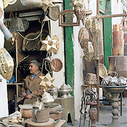 A metal workers shop in Souk al-Haraj, Tripoli, Libya