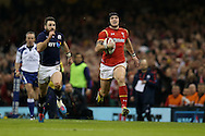 Tom James of Wales breaks away down the wing.RBS Six nations championship 2016, Wales v Scotland at the Principality Stadium in Cardiff, South Wales on Saturday 13th February 2016. <br /> pic by  Andrew Orchard, Andrew Orchard sports photography.