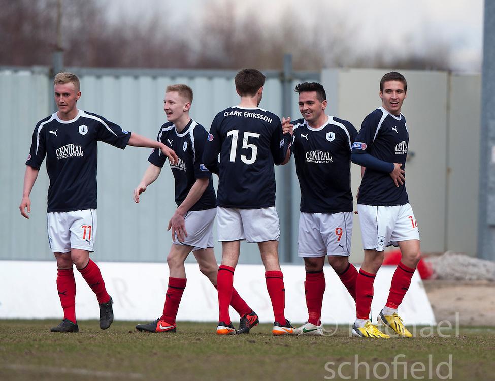 Falkirk's Sean Higgins (9) cele scoring their fourth goal..Falkirk 4 v 0 Cowdenbeath, 6/4/2013..©Michael Schofield..